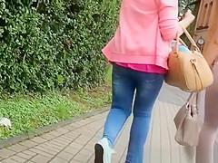 Blonde girl in tight pants