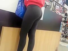 Nice ass girl in black leggings