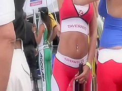 hot racing track babes in tight clothes