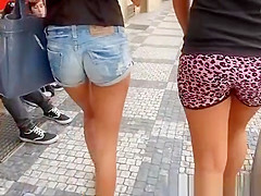 Two beautiful girls in sexy tight shorts
