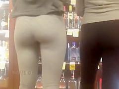 Nice ass chick in dark gray leggings