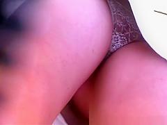 White see through panties upskirt