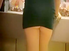 Drink blonde in very short dress