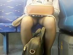 Laptop between legs train upskirt