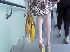 Long hair blonde sexy legs upskirt