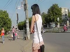 Teen upskirt when riding bus