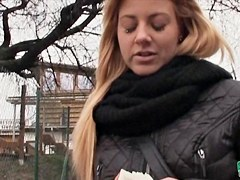 Dilettante blond Eurobabe Cherie fucked up for some money