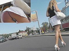 Extremely hot golden-haired upskirt episode