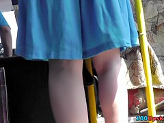 String panty upskirt on a bus