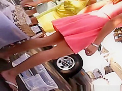Woman in pink dress upskirted