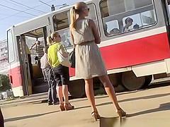 Hot sexy blonde in short dress upskirt
