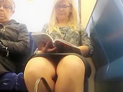 Woman reading a book in train upskirted