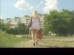 Street up-skirt white thong