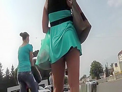 Hot brunette chick upskirt