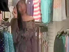 Shopping girl`s no panties upskirt