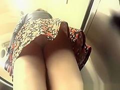 Woman white panties upskirt