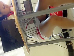 Cheerleader upskirted in school class
