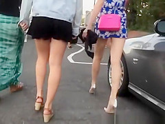Teens in shorts dresses and skirts upskirt