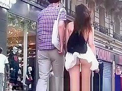 Mini skirt with thong exposed