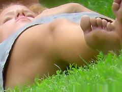 Blonde girl no panties at public park