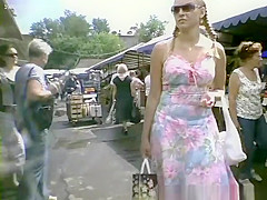 Long dress upskirt in street market