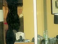 Hot chick spied through hotel window