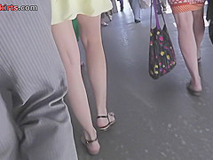 Candid upskirt mov features skinny ass slim chick