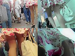 Amazing blonde wears mini skirt in upskirt movie