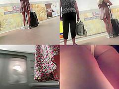 Gal in sexy g-string filmed by upskirting voyeur