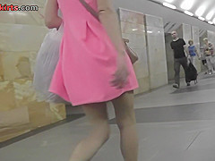 Tight thong upskirt clip of a hot blonde lassie