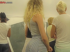 yummy ass of a blonde seen in real upskirt movie