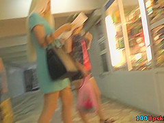 upskirting g string footage of a stunning blonde chick
