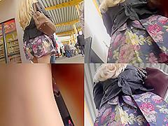 Skinny ass slim wears sexy thong in upskirt video