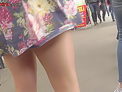 skinny ass slim wears sexy thong in upskirt video