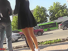 skinny bum slim chick caught wearing  in upskirt vid