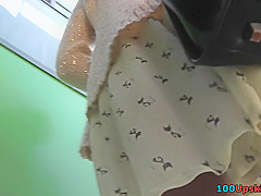 thong upskirt shot of skinny buttocks of a slim babe