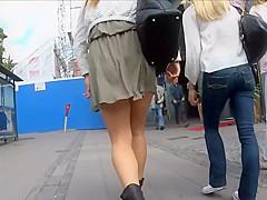 Soft skirt gets between her ass cheeks