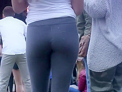 Blond girl in tights can't stop dancing