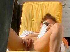 Neighbor woman reading and fingering