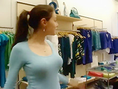 Friendly store clerk's big boobs