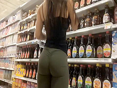 Hispanic girl's firm ass in tights