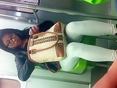 Asian girl's thick butt in white tights