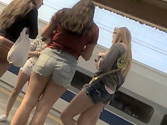 Sweet group of teens in shorts