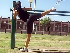 Voyeur films a stretchy girl's exercise