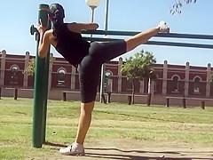 Voyeur films a stretchy girl's exercise