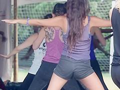 Pussy slip during yoga