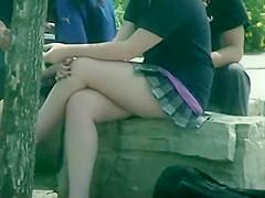 Schoolgirls in short skirt uniforms