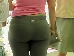 Hot round buttocks squeezed in pants