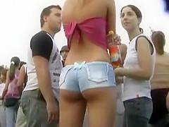 Teen girl in very tiny shorts