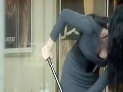 Amazing girl sweeps the floors
